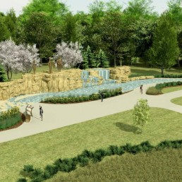 Rendering of proposed Chouteau Heritage Fountain from above